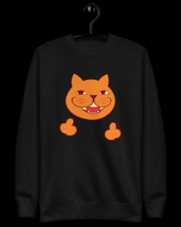 rude cat fleece pullover hanging black