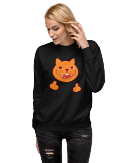 rude cat fleece pullover woman black