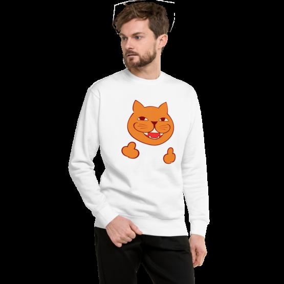 rude cat fleece pullover man white