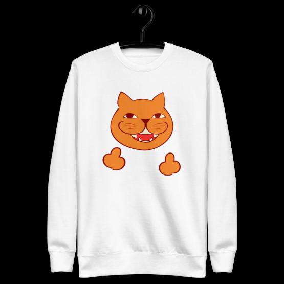 rude cat fleece pullover hanging white