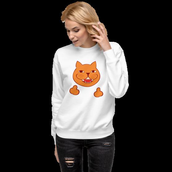 rude cat fleece pullover woman white
