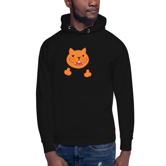 rude cat premium hoodie man black
