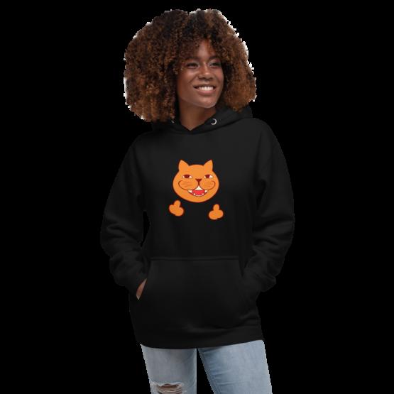 rude cat premium hoodie woman black