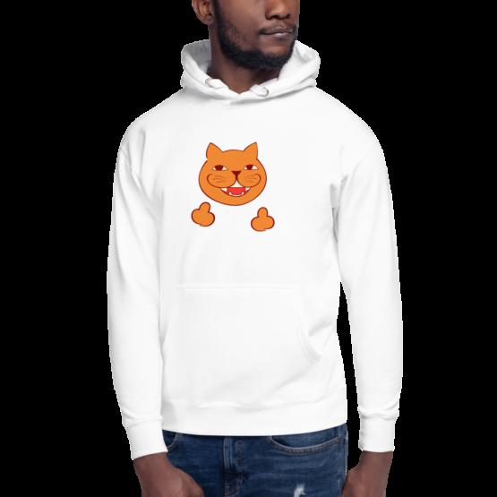 rude cat premium hoodie man white