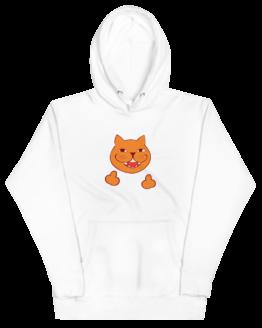 rude cat premium hoodie wrinkled white