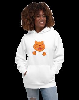 rude cat premium hoodie woman white