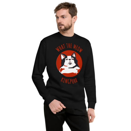 what the meow fleece pullover man black