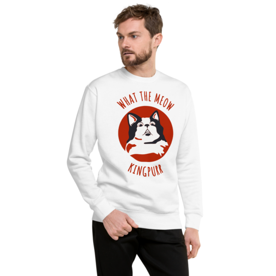 what the meow fleece pullover man white