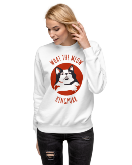what the meow fleece pullover woman white