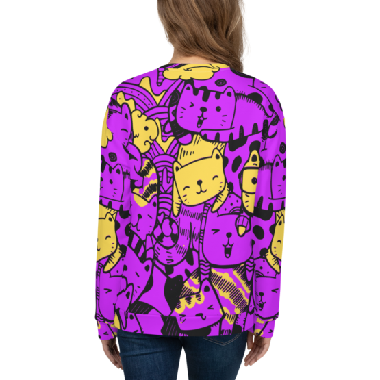 all over print sweatshirt cats purple back woman