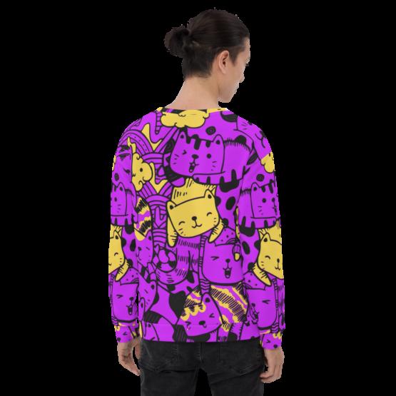 all over print sweatshirt cats purple back man