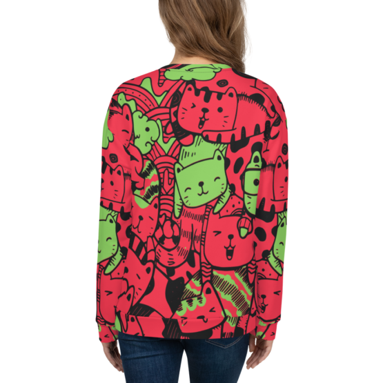 all over print sweatshirt cats red back woman