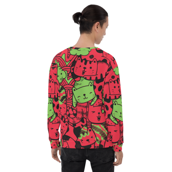 all over print sweatshirt cats red back man