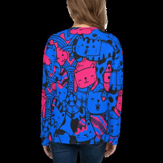 all over print sweatshirt cats blue back woman