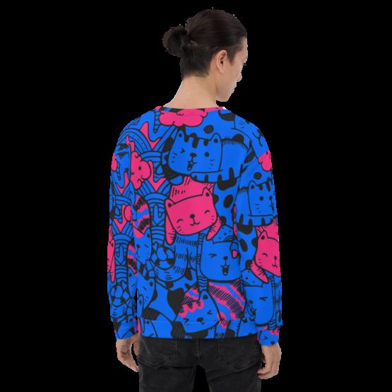 all over print sweatshirt cats blue back man