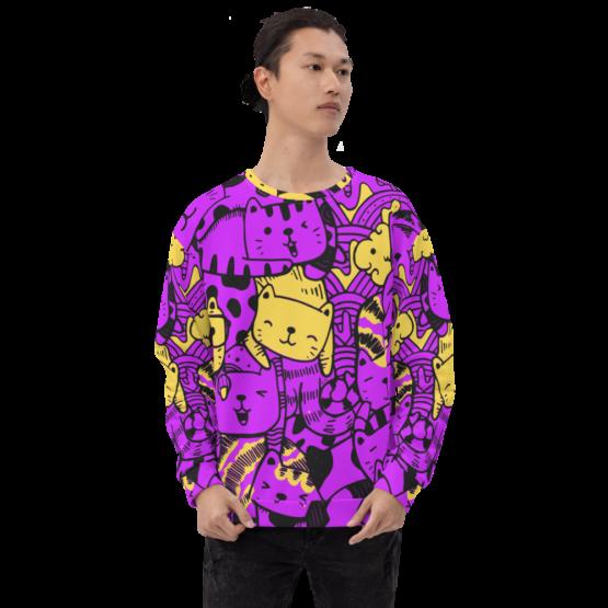 all over print sweatshirt cats purple front man