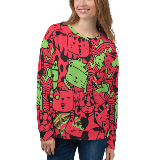 all over print sweatshirt cats red front woman