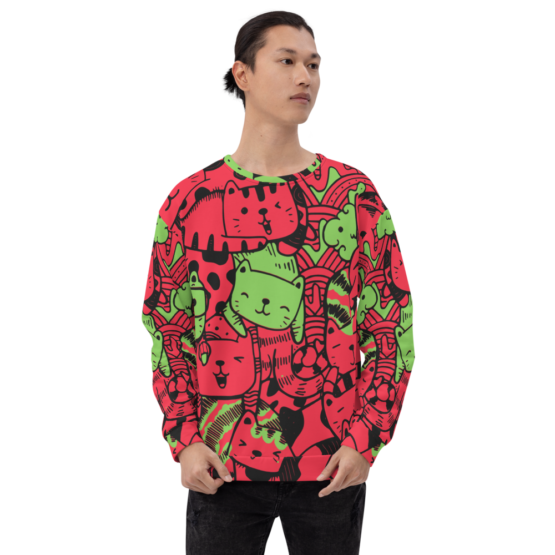 all over print sweatshirt cats red front man