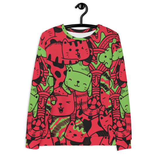 all over print sweatshirt cats red front hanging