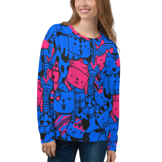 all over print sweatshirt cats blue front woman
