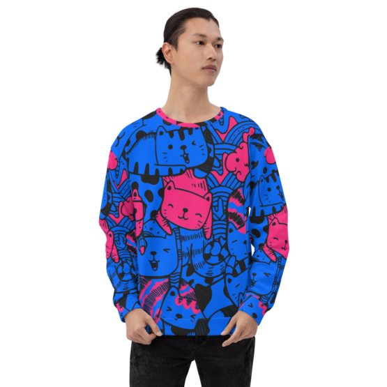 all over print sweatshirt cats blue front man