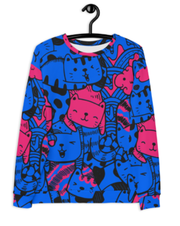 all over print sweatshirt cats blue front hanging