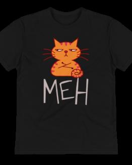unimpressed cat eco t-shirt wrinkled black
