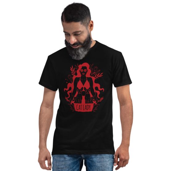 cat lady eco t-shirt man black
