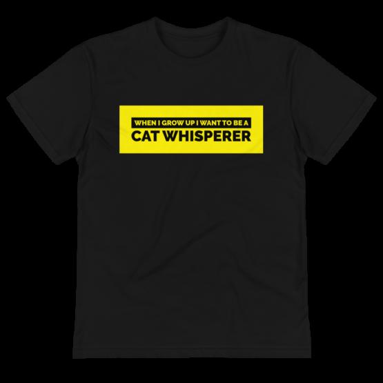 cat whisperer eco t-shirt wrinkled black