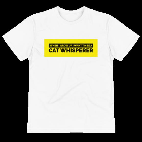 cat whisperer eco t-shirt wrinkled white