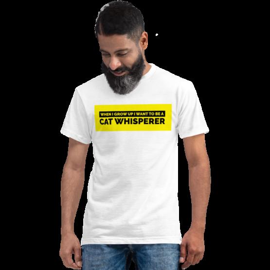 cat whisperer eco t-shirt man white
