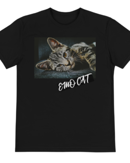 emo cat eco t-shirt front black