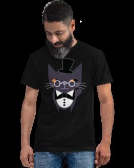 fancy judgemental cat eco t-shirt man black