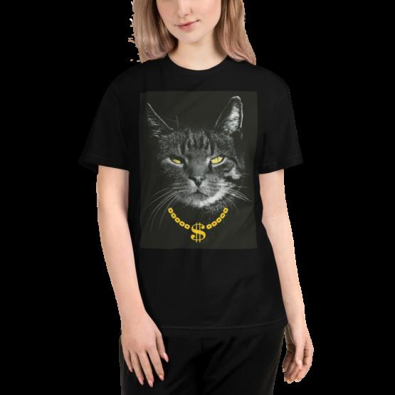 gangster cat eco t-shirt woman black