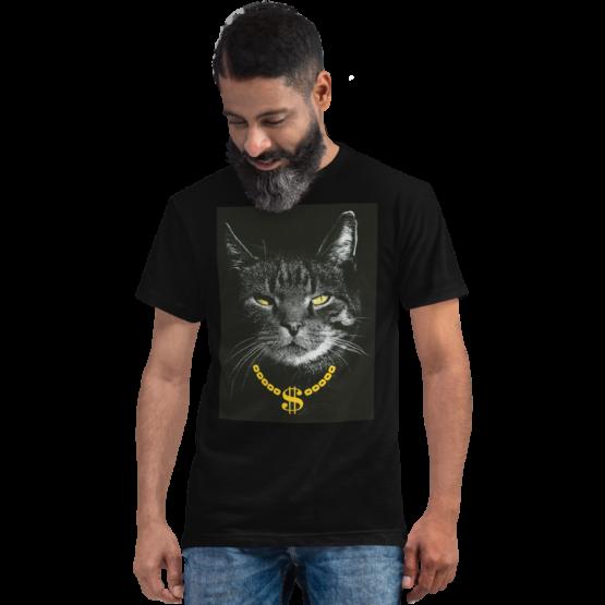 gangster cat eco t-shirt man black