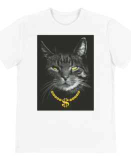 gangster cat eco t-shirt front white