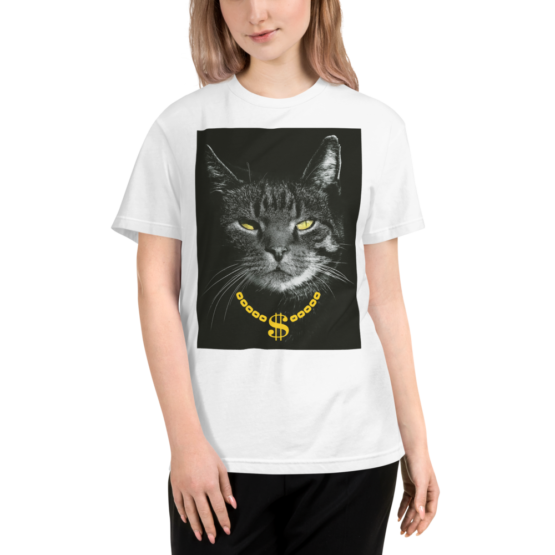 gangster cat eco t-shirt woman white