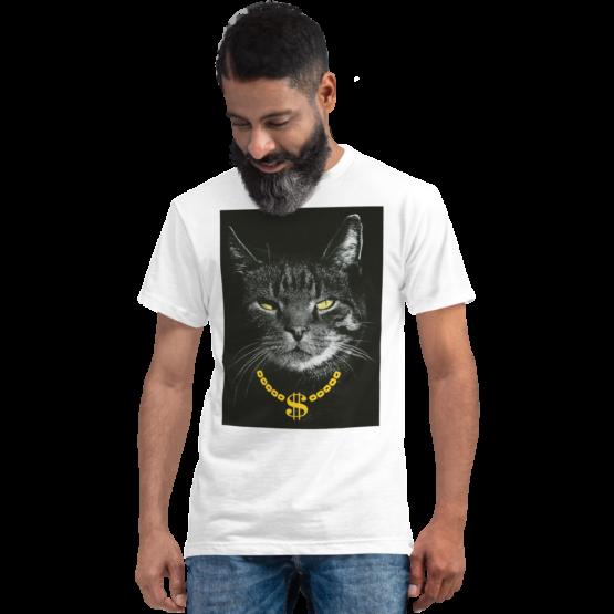gangster cat eco t-shirt man white