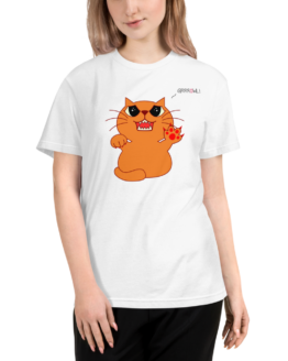 hungry cat eco t-shirt woman white