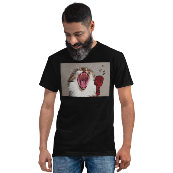 karaoke cat eco t-shirt man black