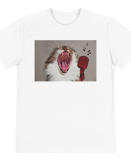 karaoke cat eco t-shirt front white
