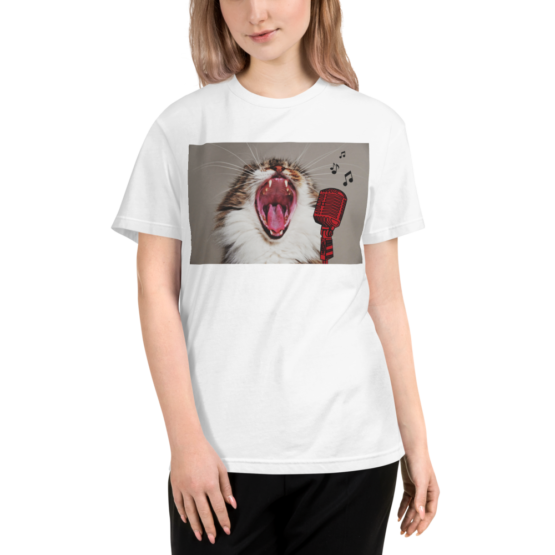 karaoke cat eco t-shirt woman white