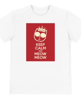 keep calm and meow meow eco t-shirt front white