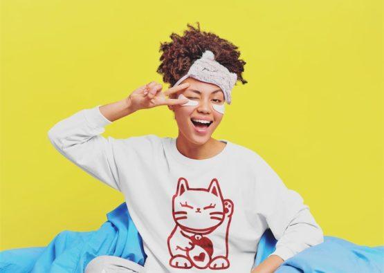 love cat fleece pullover cute girl