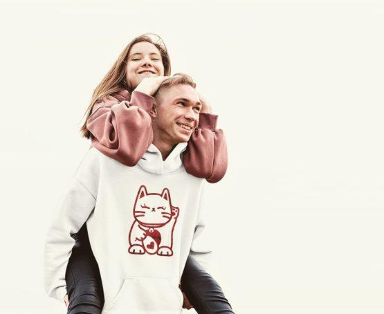 love cat hoodie happy couple