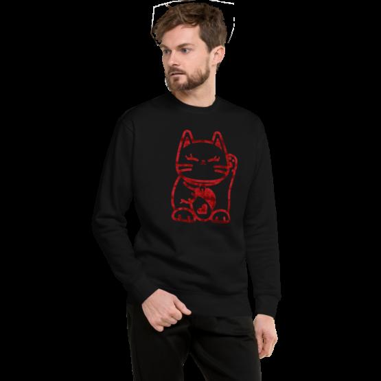 love cat fleece pullover man black