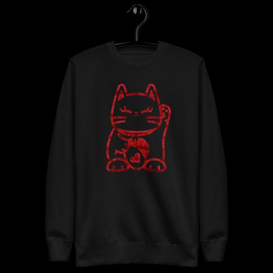 love cat fleece pullover hanging black