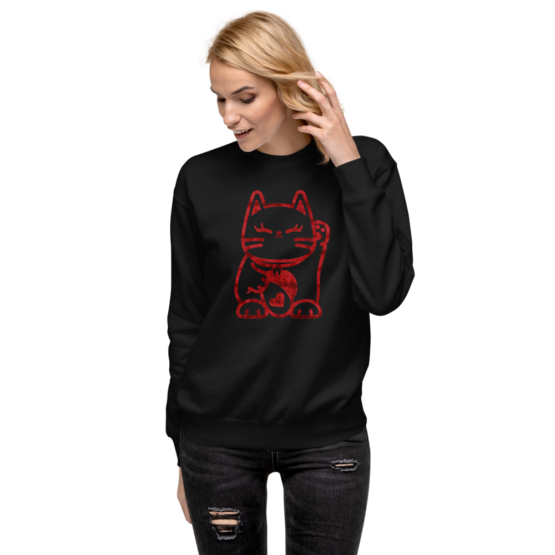 love cat fleece pullover woman black