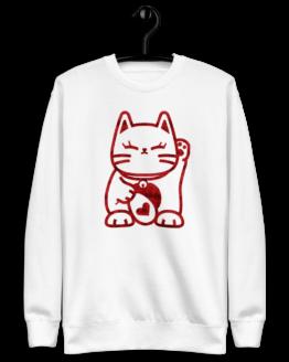 love cat fleece pullover hanging white