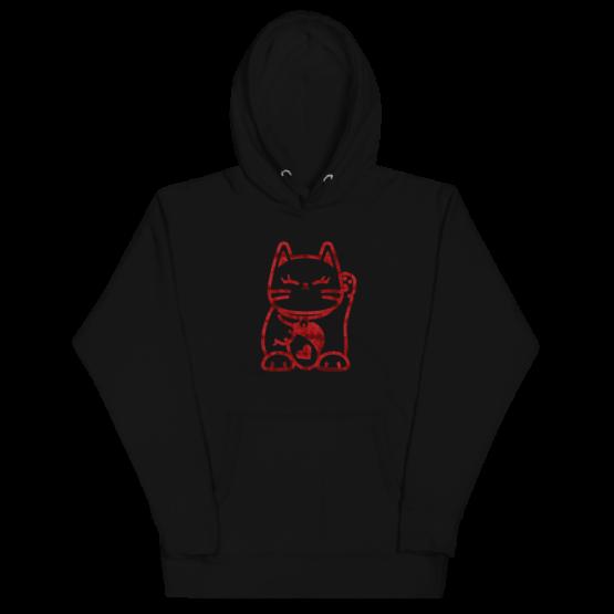 love cat hoodie wrinkled black